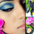 Collage of beautiful woman's face with natural cosmetics sets - Foto Stock