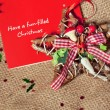 Christmas postcard with best wishes with rustic decoration — Stock Photo