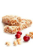 Cereal bars with puffed wheat and cranberries — Stock Photo