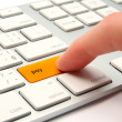 Keyboard with golden button pay — Stock Photo