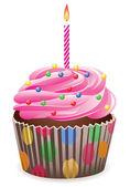 Pink cupcake — Stock Vector