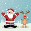 Santa and rudolph deer — Stock Vector