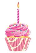 Cupcake con vela ardiente — Vector de stock