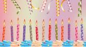 生日蜡烛蛋糕和彩带 — 图库矢量图片