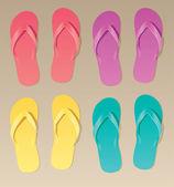 Kleurrijke flip-flops — Stockvector