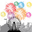 Stock Vector: Fireworks and silhouettes of city and amusement park