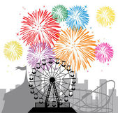 Fireworks and silhouettes of a city and amusement park — Stockvektor