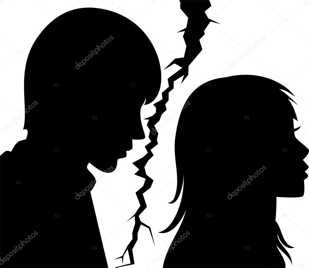 Vector silhouette of broken relationship between young man and woman — Stock Vector #7149530