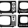 Stock Vector: retro tv set