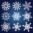 Stock Vector: Set of 9 snowflakes