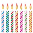 Colorful birthday candles — Stock Vector