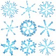 Stock Vector: Set of snowflakes made of words