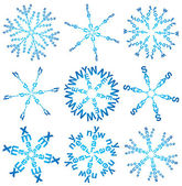Set of snowflakes made of words — Stock Vector