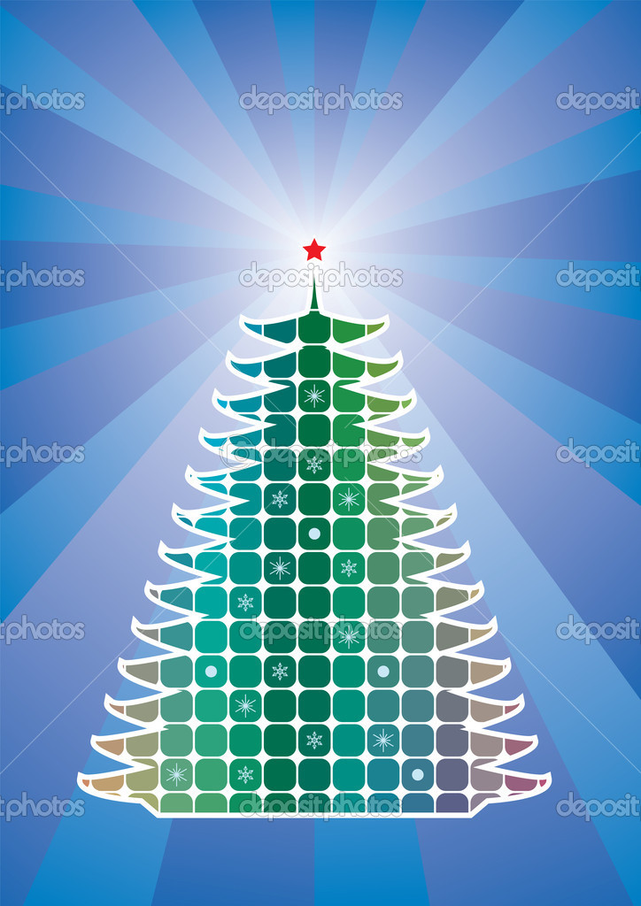 Vector holiday tree on retro background  — Stock Vector #7255013
