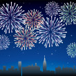 Fireworks over a city - Stock Vector