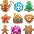 Nine gingerbread cookies — Imagen vectorial