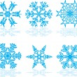 Stock Vector: Set of winter snowflakes