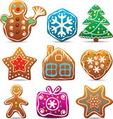 Nine gingerbread cookies — Stock Vector