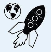 Rocket ship and planet earth symbols — Vecteur