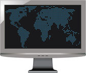 Gray tv monitor with world map — Vector de stock