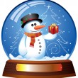 Snow globe with snowman — Stock Vector