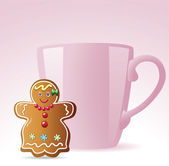 Gingerbread cookie and a cup — Vettoriale Stock