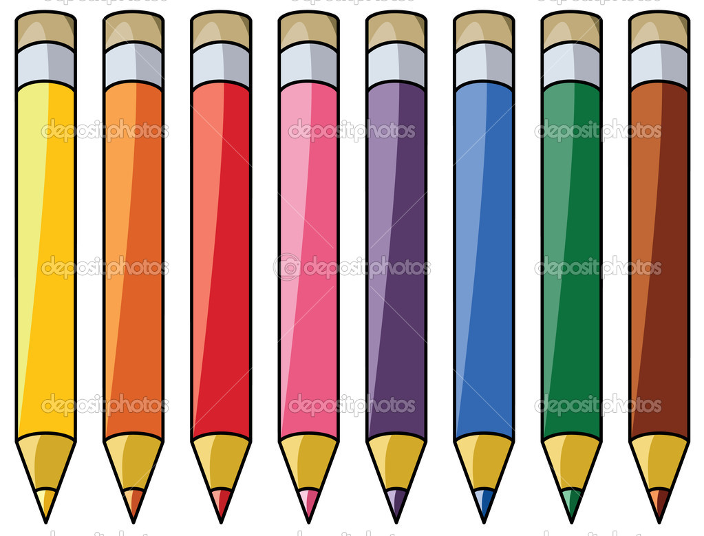 Colorful pencils clipart — Stock Vector © dmstudio #7363400