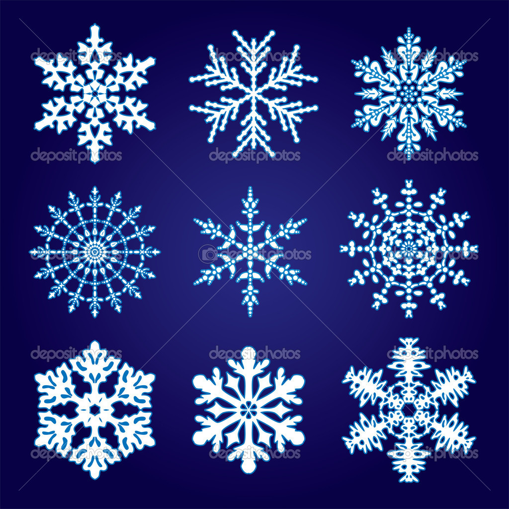 9 snowflakes — Stock Vector #7418626