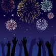 Fireworks and hands — Stock Vector