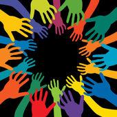 Händer i många färger — Stockvektor
