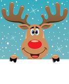 Rudolph herten bedrijf blanco papier — Stockvector
