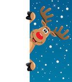 Rudolph deer holding blank paper — Stock Vector