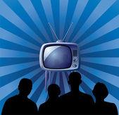 Family watching retro tv set — Stock Vector