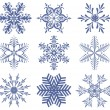 Stok Vektör: Set of snowflakes