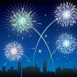 Fireworks over a city — Stock Vector #7538716