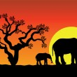 Elephants in africa — Vector de stock