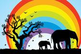 Boom, olifanten en regenboog — Stockvector