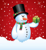 Snowman with a gift — Stock Vector