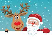 Jultomten och rudolph hjortar — Stockvektor