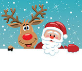 Santa claus and rudolph deer — Vector de stock