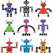 Set of robots of various shapes and colors — Stock Vector #7815508