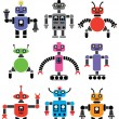 set of robots of various shapes and colors — Stock Vector