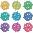 Colorful snowflakes - Stock Vector