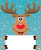 Rudolph hjortar anläggning blankt papper — Stockvektor