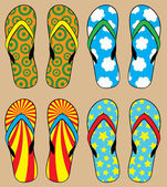 Set of colorful flip flops — Stock Vector