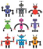 Satz von robotern in verschiedenen formen und farben — Stockvektor