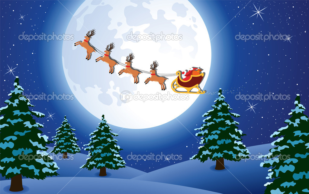 Vector xmas holiday background with santa — Stock Vector #7814560