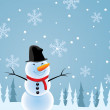 Vector illustration of happy snowman — Stock Vector