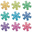 Stock Vector: Vector colorful snowflakes