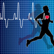 Vector heartbeat and running man - 
